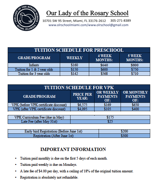 Tuition | Our Lady of The Rosary