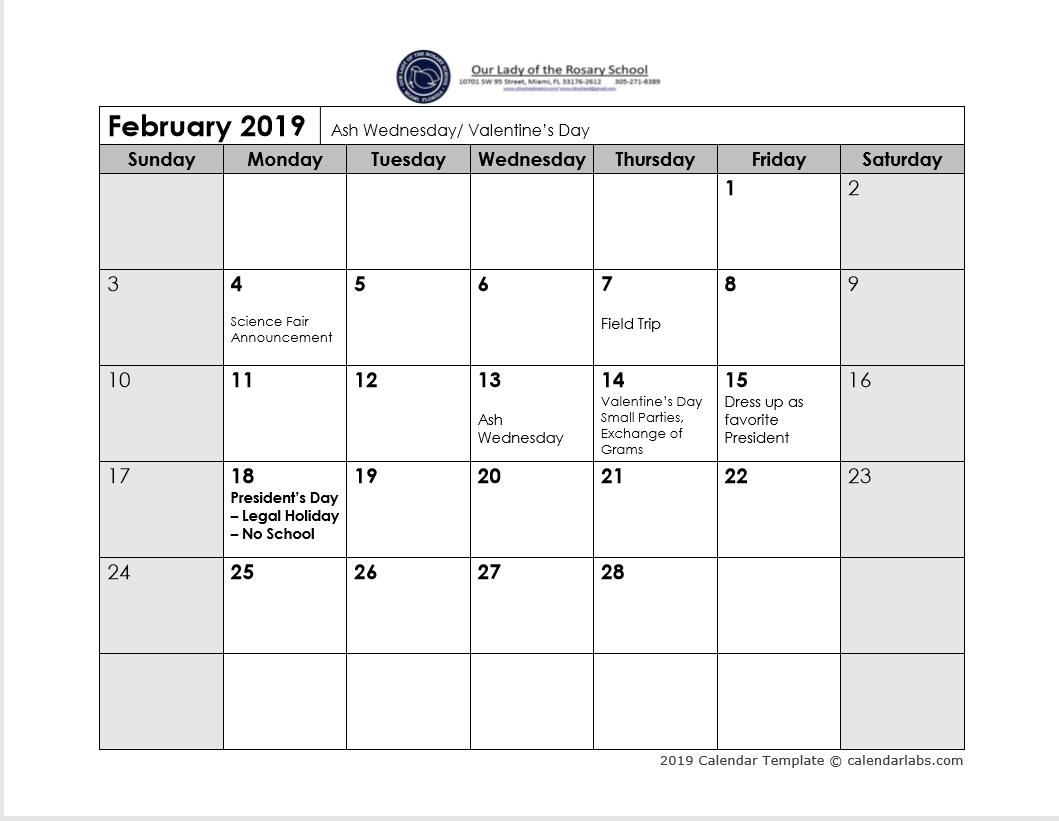 2019 calendar template calendarlabs